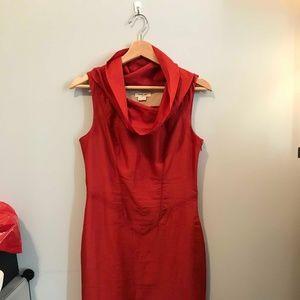 Helmut Lang red silk sheath dress Sz 6